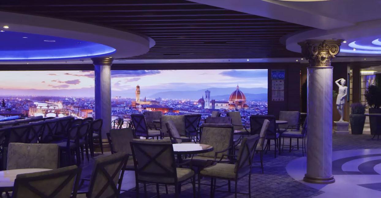 Restaurante del Barco Costa Firenze para el Crucero Ochentero con Vacaciones Singles