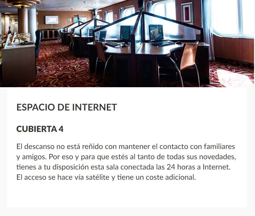Barco Sovereign Pullmantur Cruceros Mediterraneo Area Internet a bordo