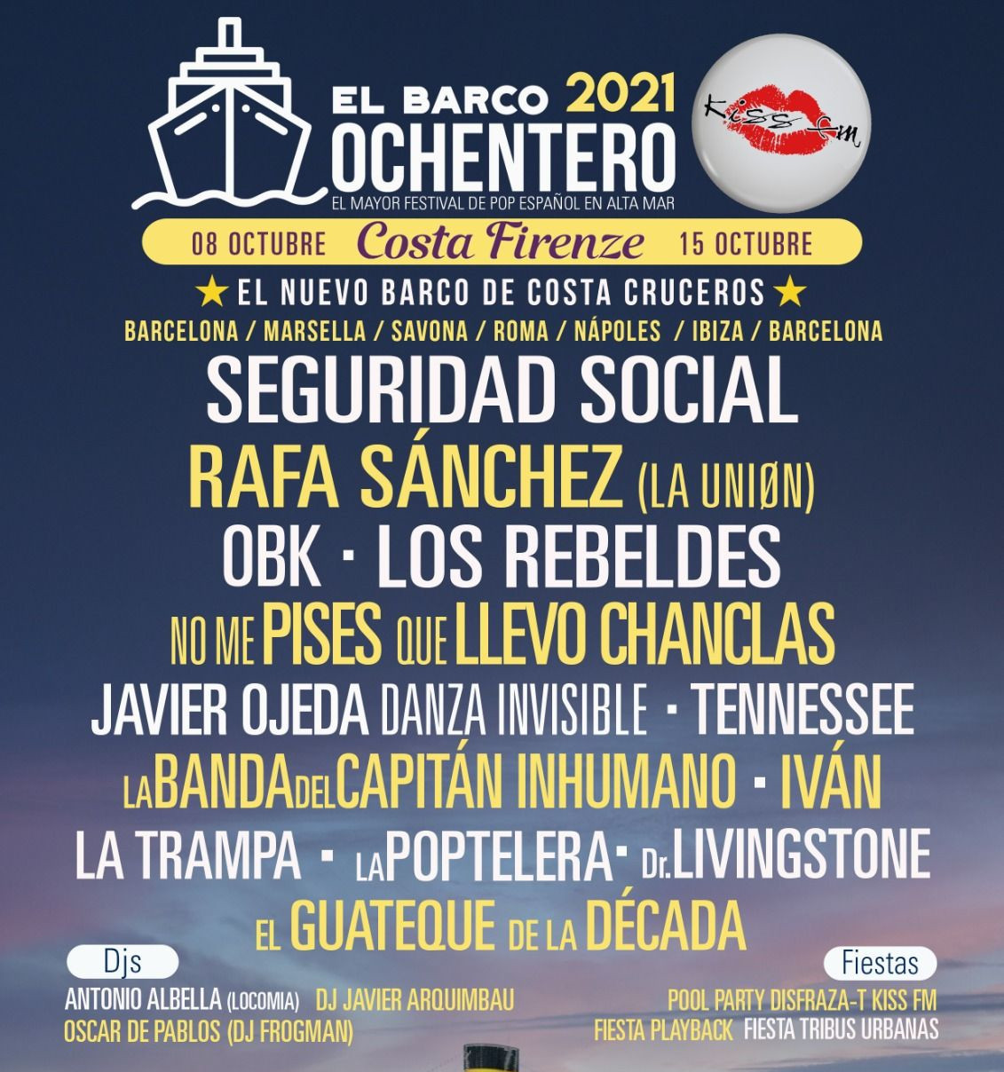 Artistas conciertos y Djs en el Crucero Ochentero 2021 B2Bviajes