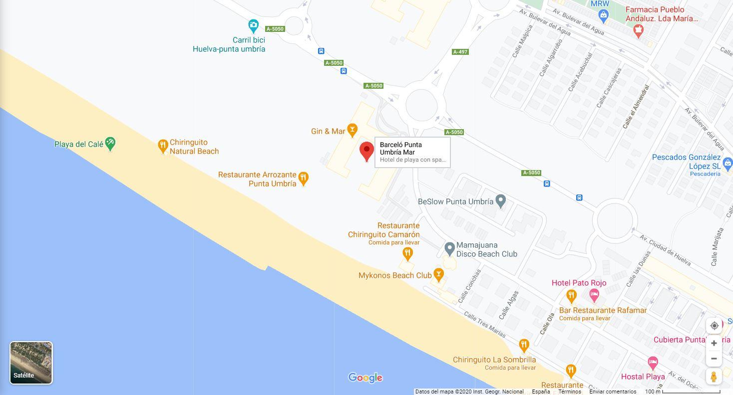 Como llegar mapa ubicación Hotel Barcelo Punta Umbria Mar Huelva