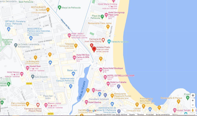 Como llegar al hotel Prado 2 y ubicación en Peñiscola
