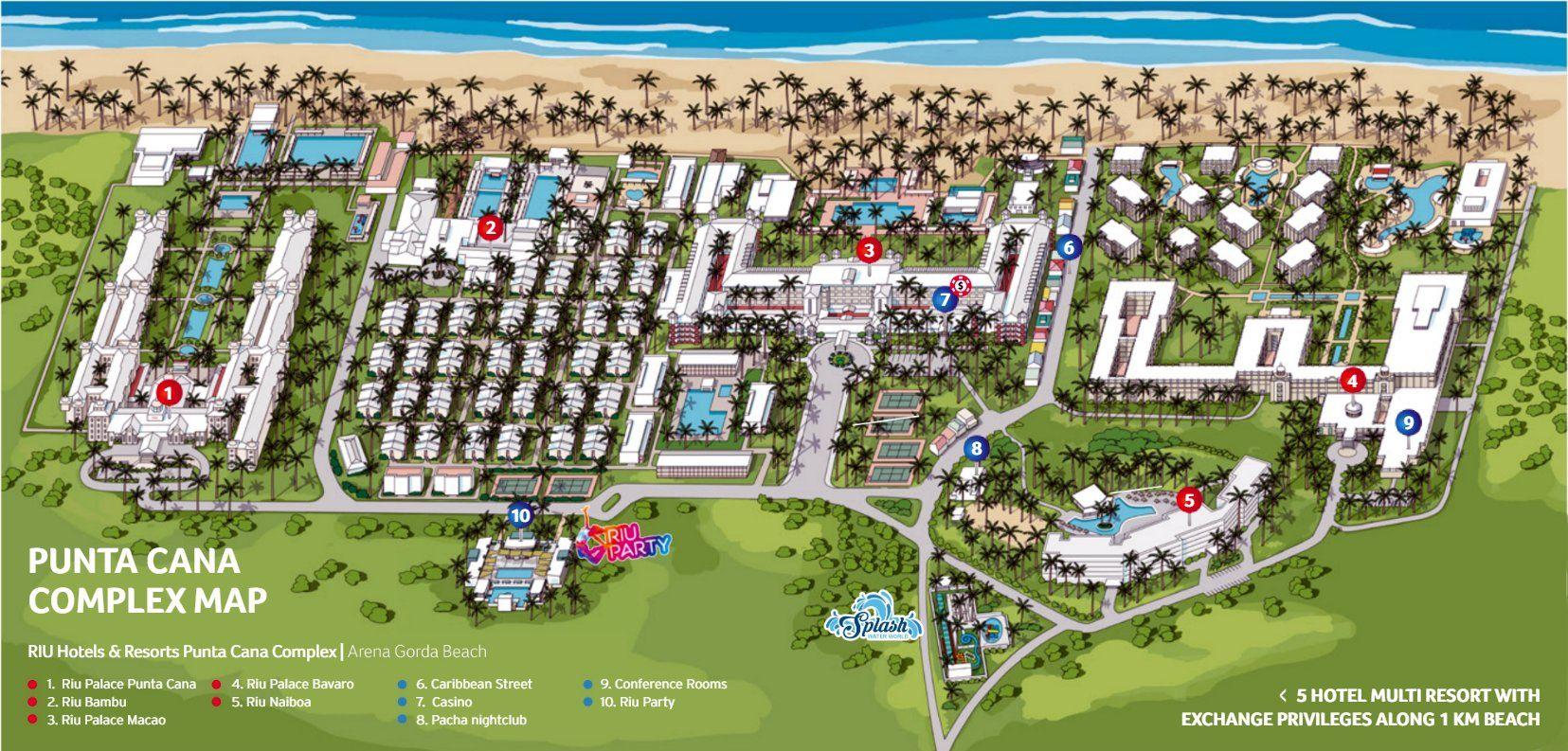Complejo Resort Riu Hoteles Punta Cana Plano y Mapa