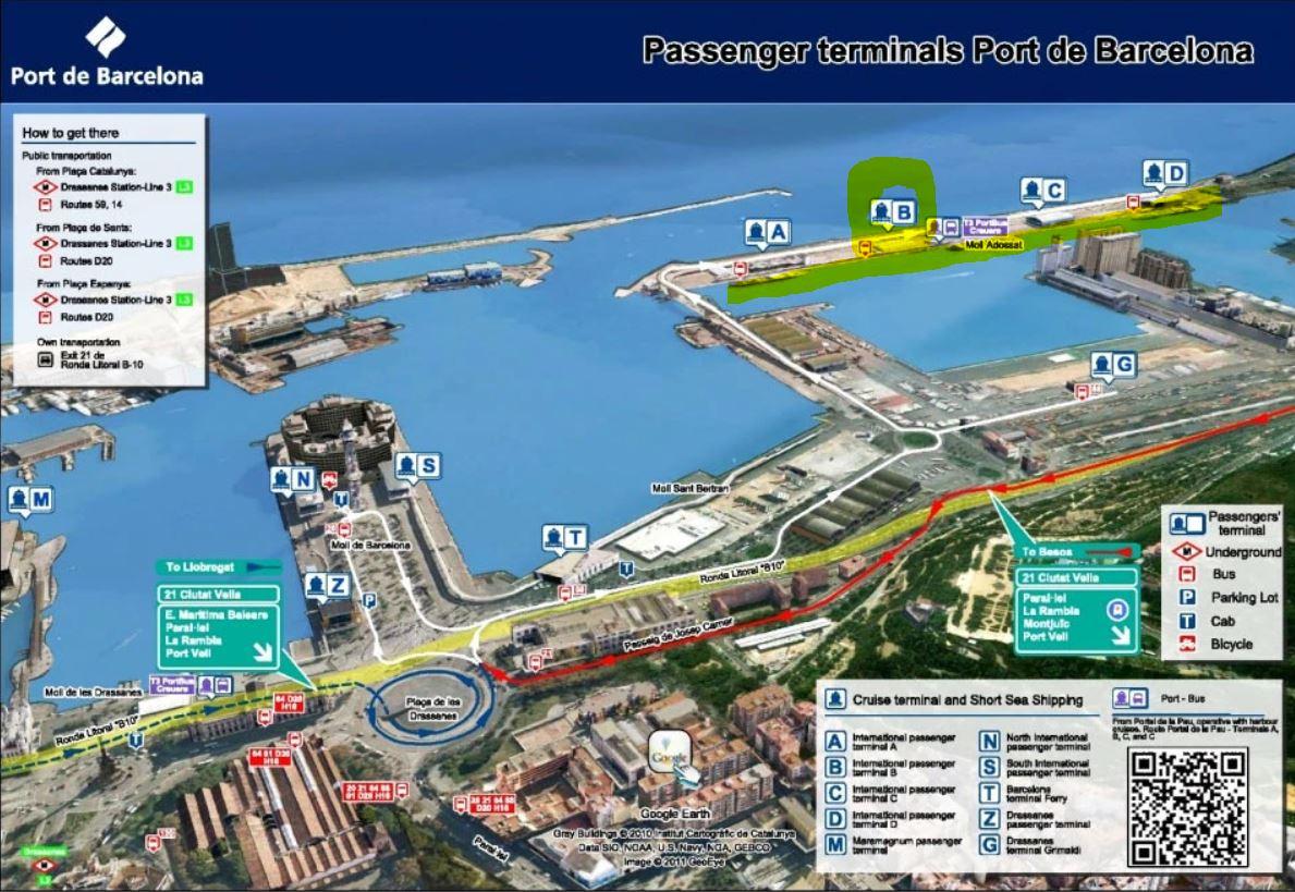 Cual es la Terminal de salida del Barco Epic en el puerto de cruceros de Barcelona