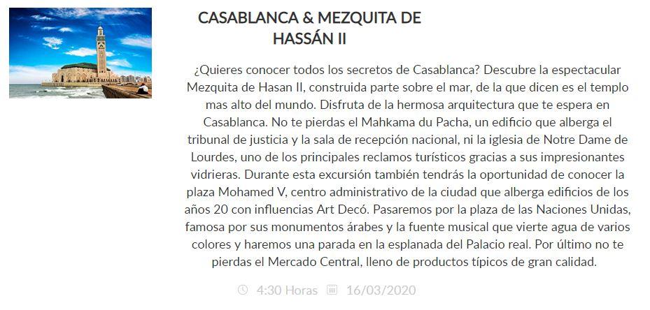 Excursión Casablanca Pullmantur 2020