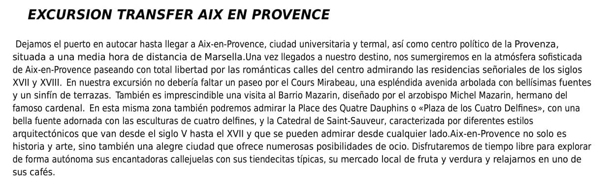 Excursión Provence Barco Ochentero 2018