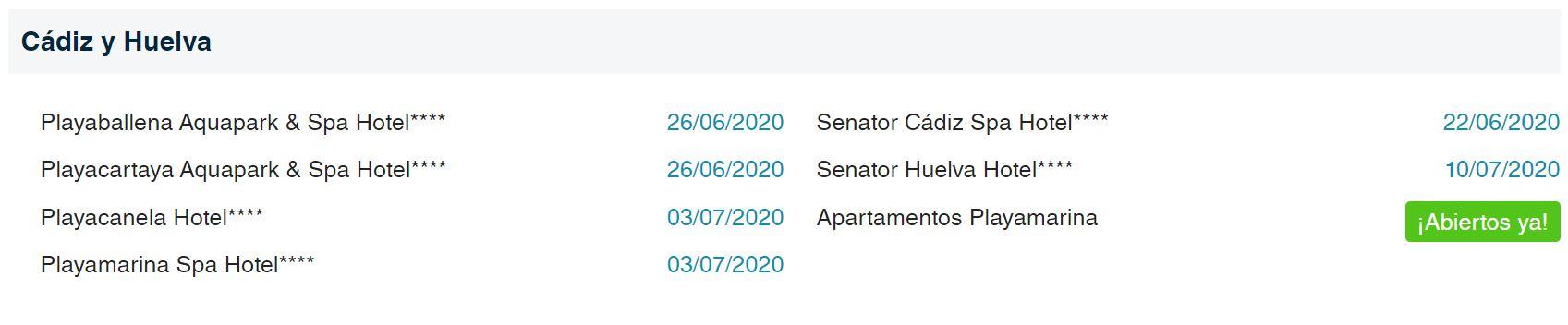Fechas reapertura Hoteles Playa Senator Cadiz y Huelva B2Bviajes