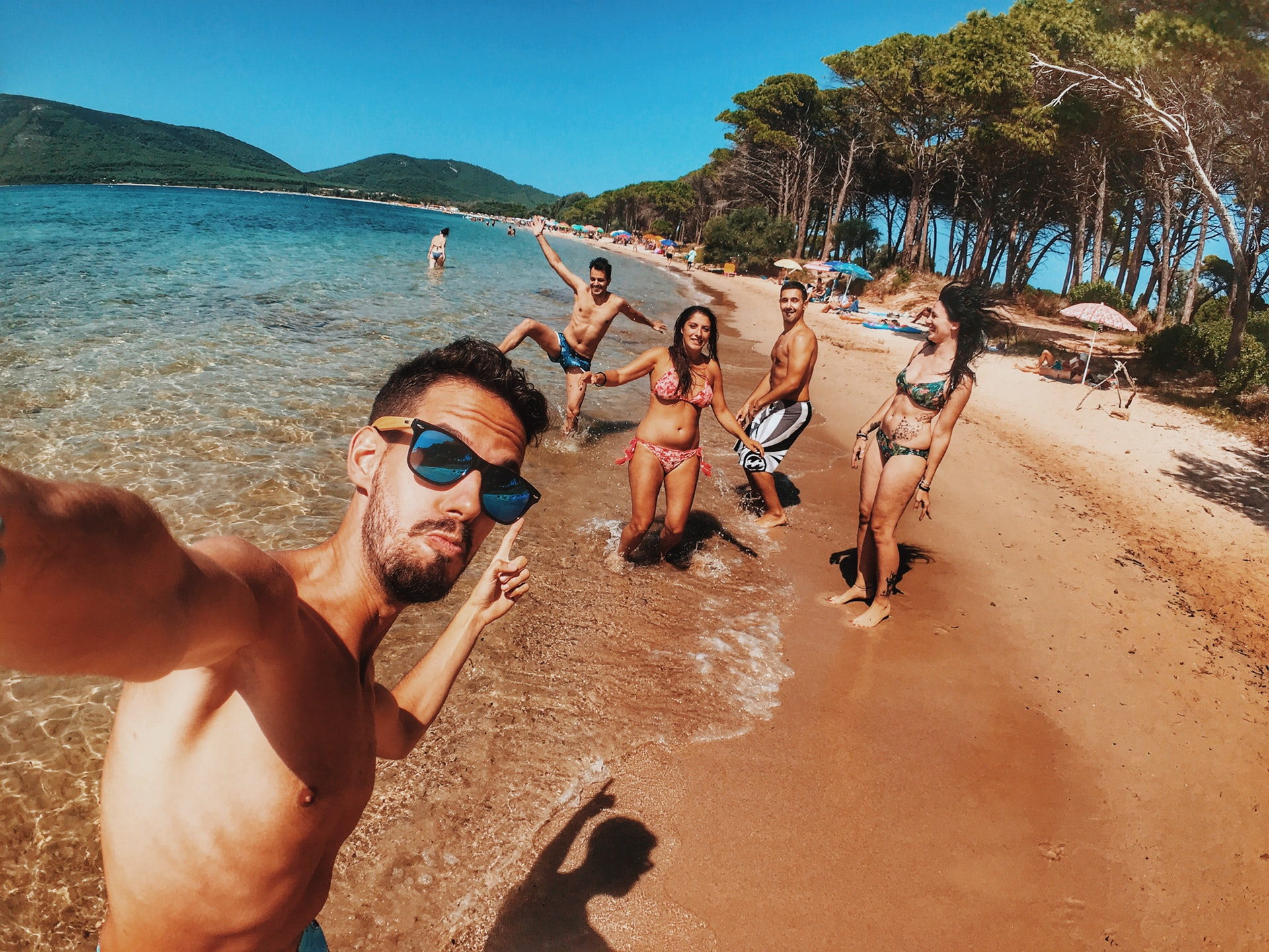grupo en la playa