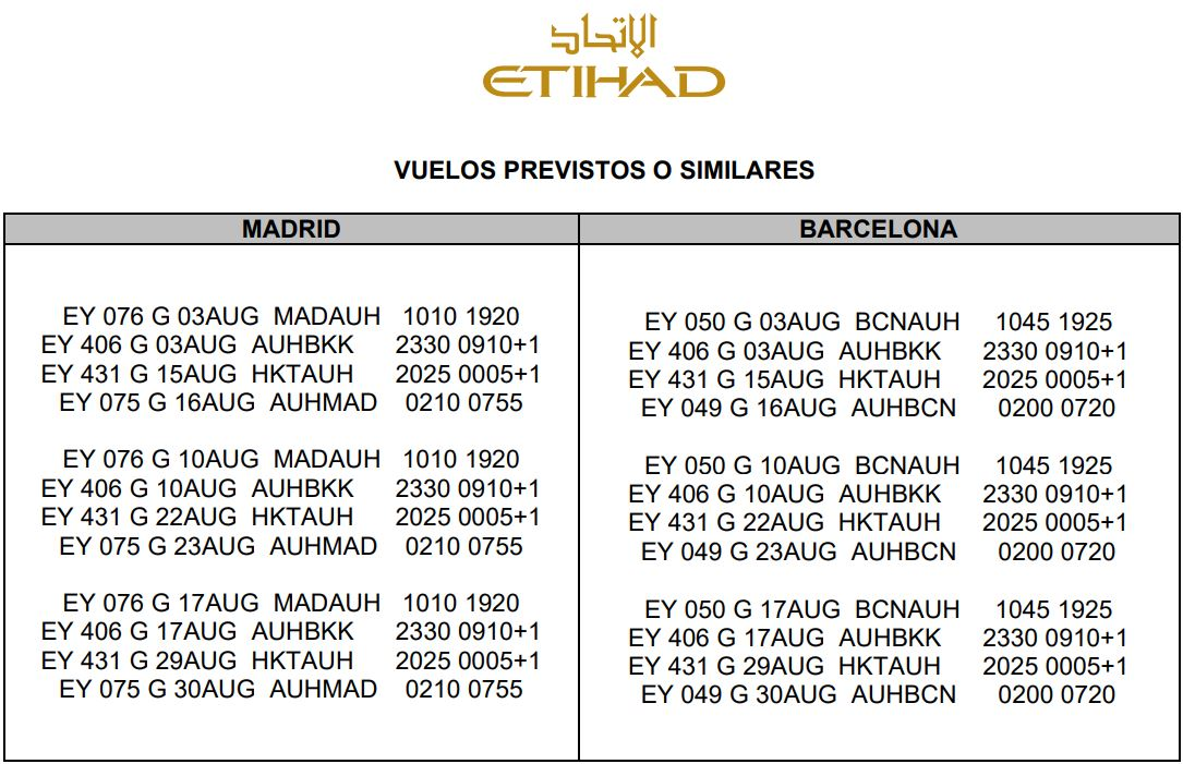 Horario Vuelos Tailandia desde Madrid y Barcelona Agosto 2020