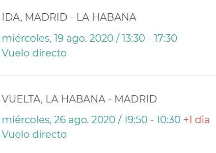 Horarios Vuelos Evelop Madrid La Habana Agosto 2020