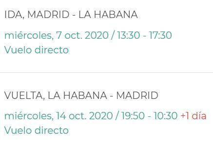Horarios vuelos Evelop Madrid La habana Octubre 2020