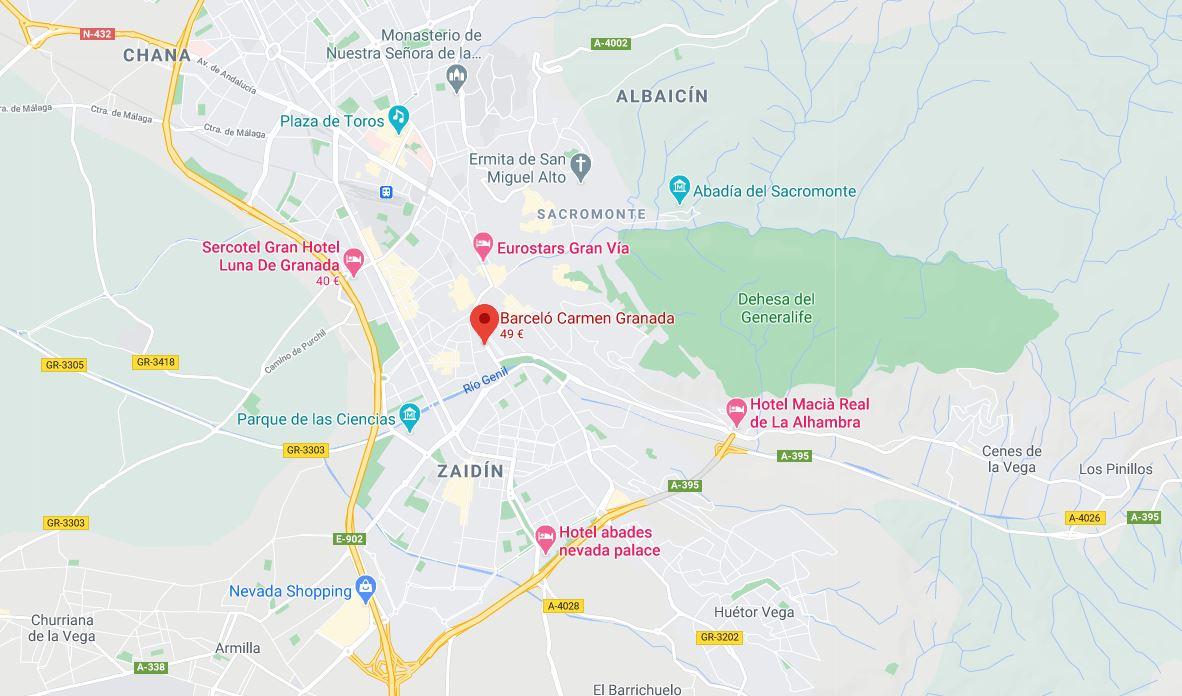 Hotel Barcelo Carmen Granada b2b viajes Ubicacion