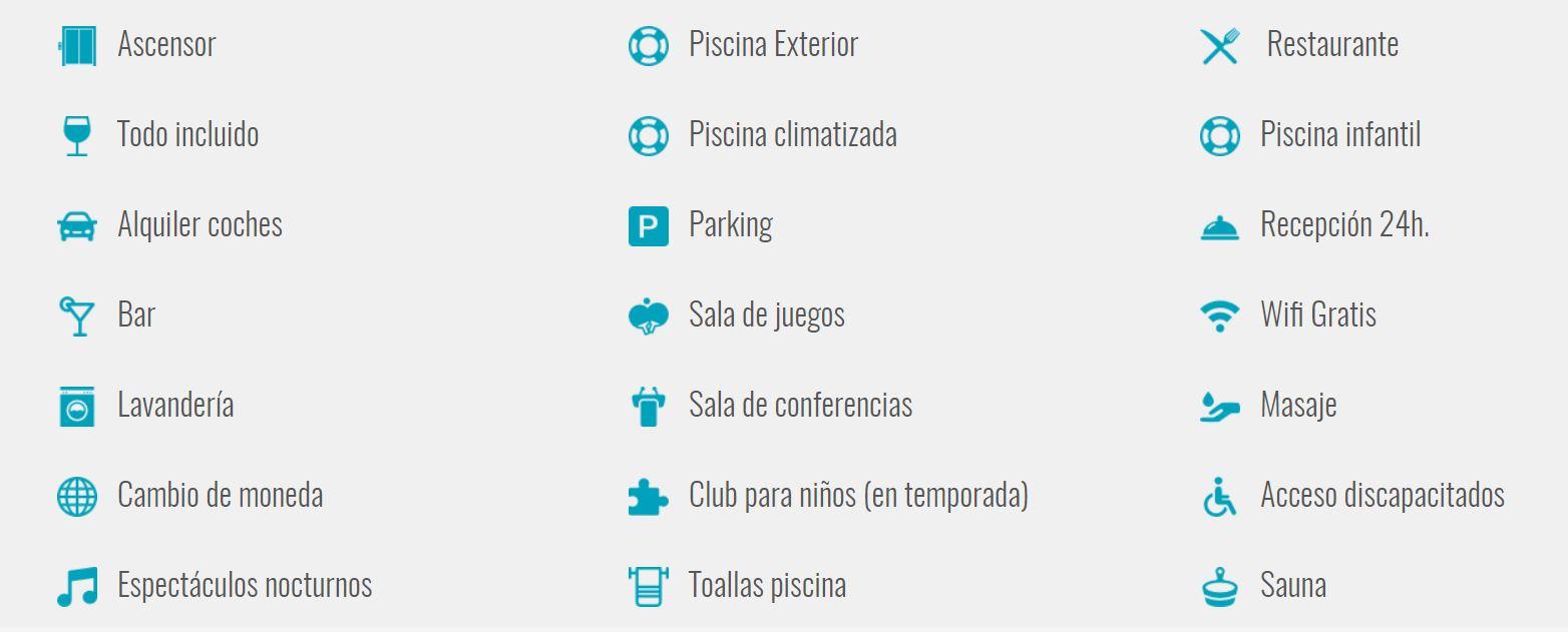 Servicios del hotel Cervantes Torremolinos oferta Vacaciones Singles y B2Bviajes