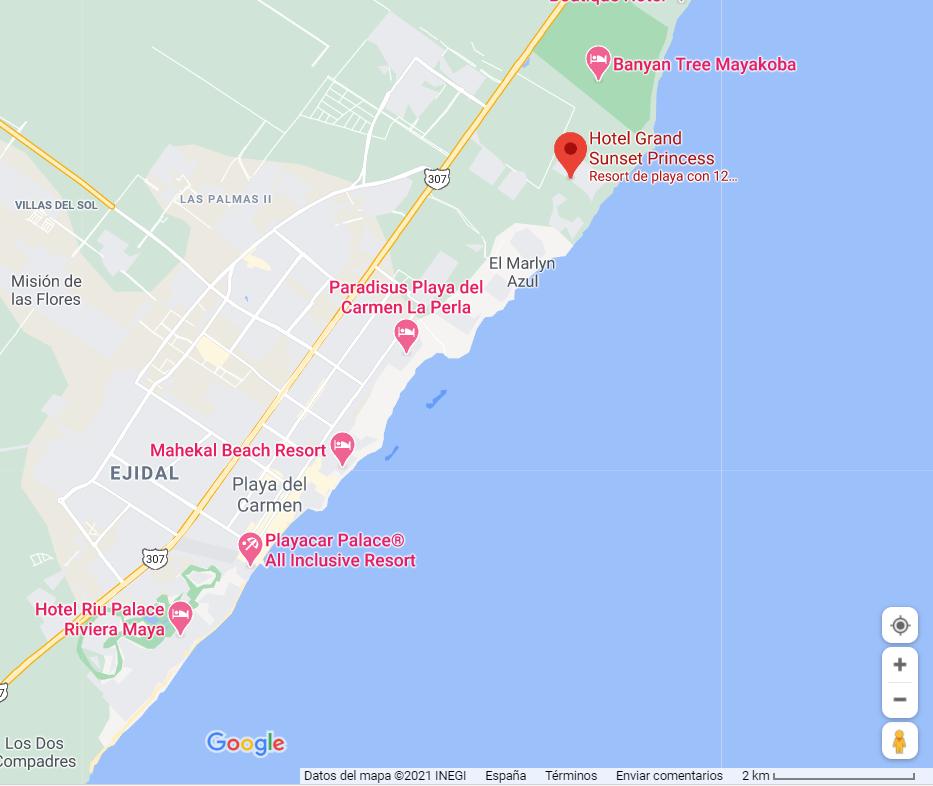 como llegar ubicacion grand hotel sunset maya playa del carmen vacaciones singles