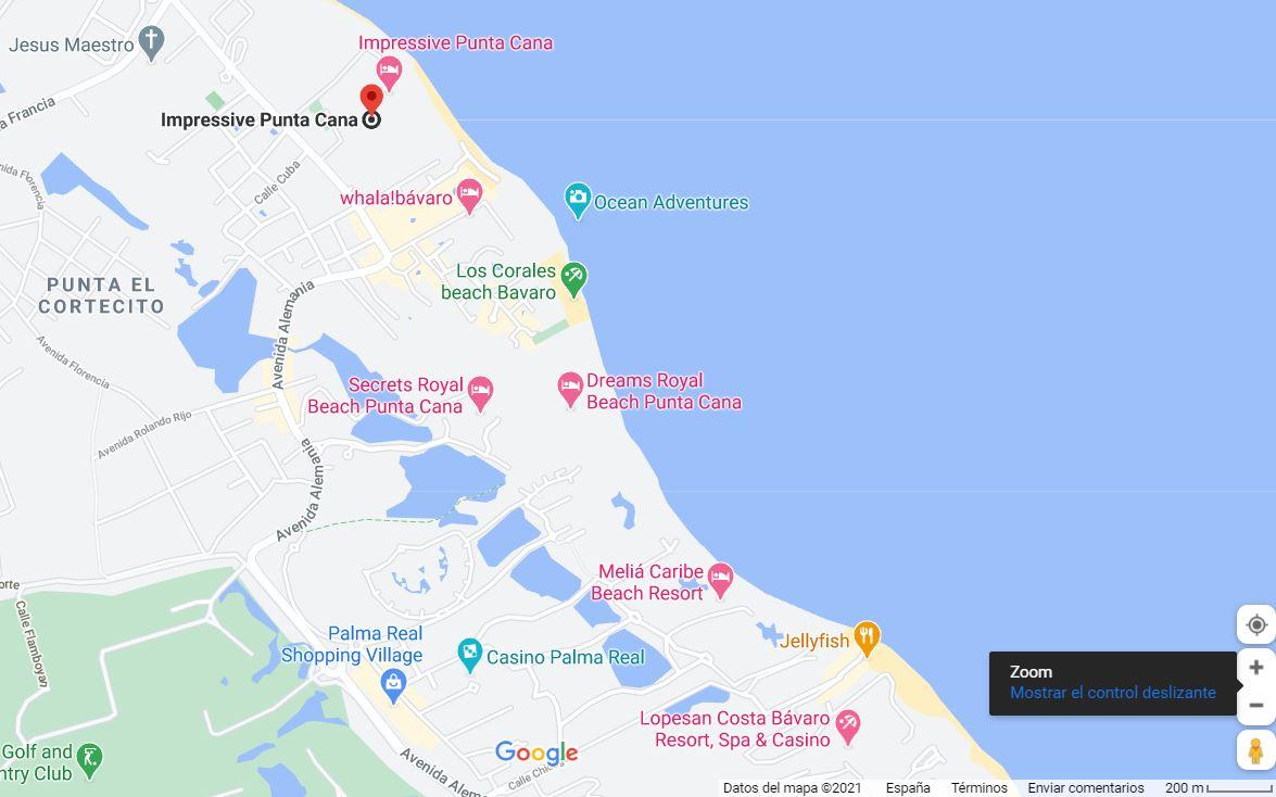 mapa como llegar ubicacion de hotel impressivle y resort punta cana