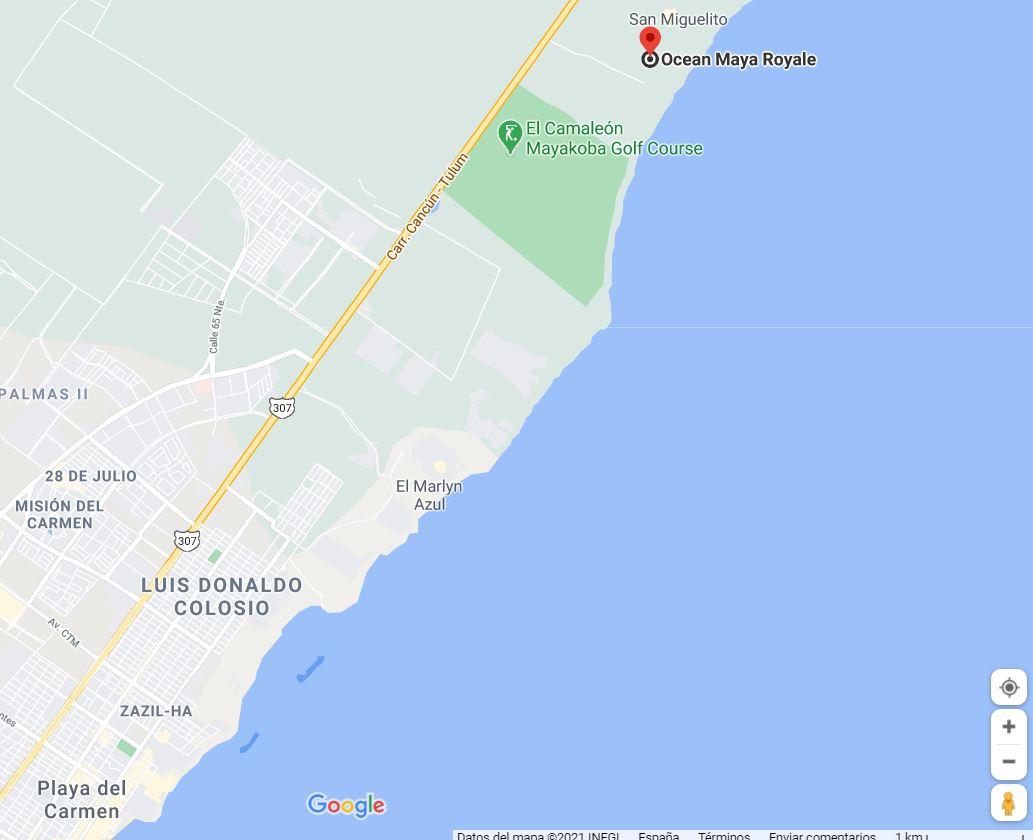 como llegar ubicacion Hotel ocean maya royale vacaciones singles