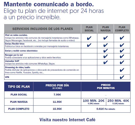 Internet a bordo Pullmantur tarifa 2018
