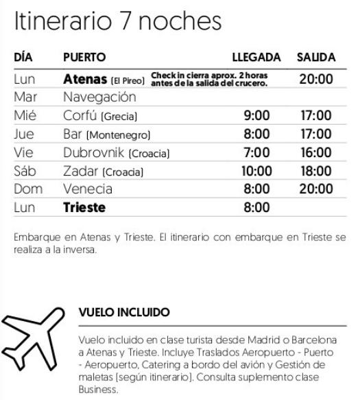 Itinerario Crucero Rondó Veneciano 2018 para singles