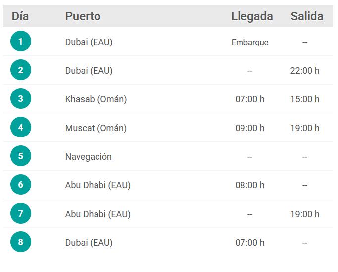 Itinerario crucero Dubái Reyes 2021