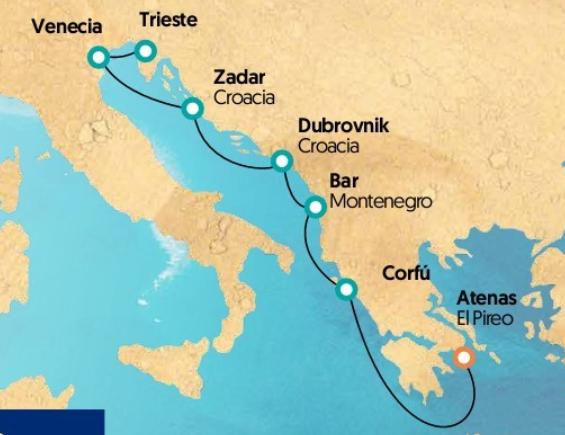 Mapa Itinerario Crucero Rondó Veneciano 2018 para singles