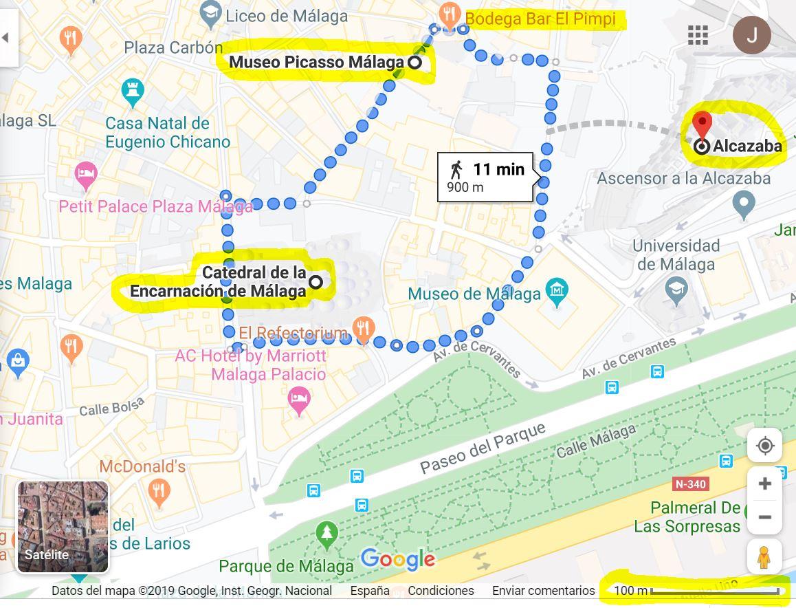 mapa centro histórico de Málaga Museo Picaso Catedral y Alcazaba Vacaciones Singles