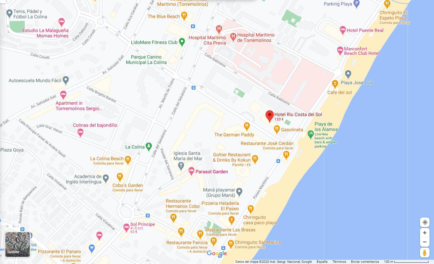 Mapa Torremolinos Ubicacion Hotel Riu Costa del Sol B2B viajes