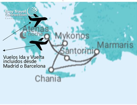 Mapa Itinerario Crucero Islas Griegas Singles 2019