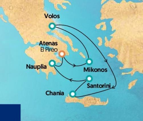 Mapa itinerario Crucero Islas Griegas