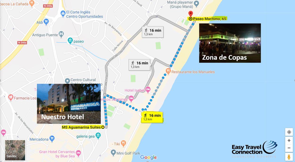 Mapa distancia Hotel Aguamarina Suite Zona de Copas Torremolinos Playa Vacaciones Singles