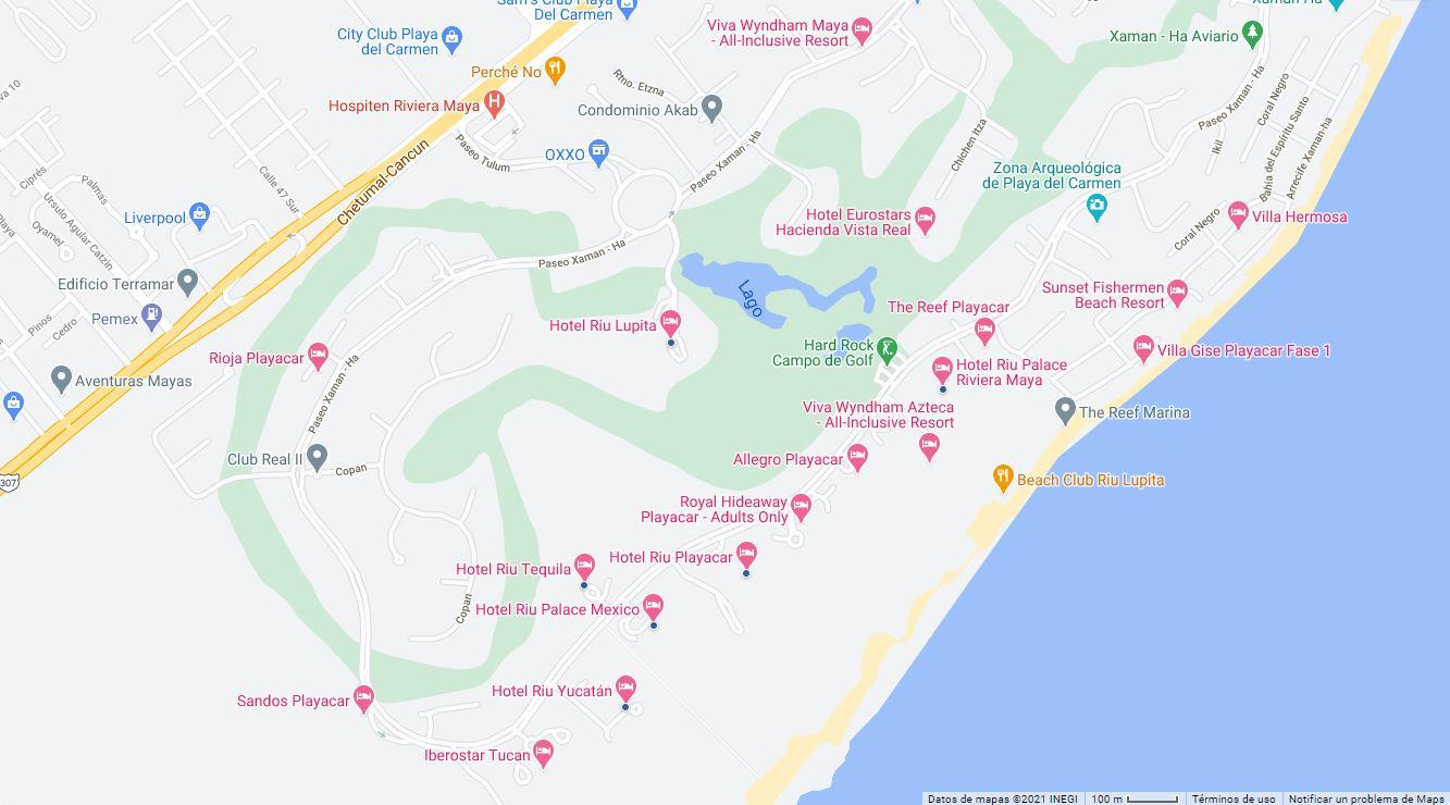 Mapa Ubicación como llegar al Hotel Riu Lupita en Playa del Carmen México