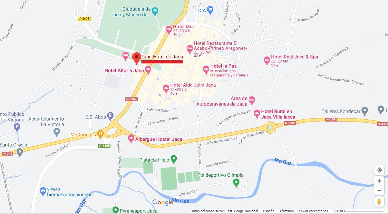 Mapa Ubicacion como llegar al gran Hotel de Jaca en Pirineo Aragones