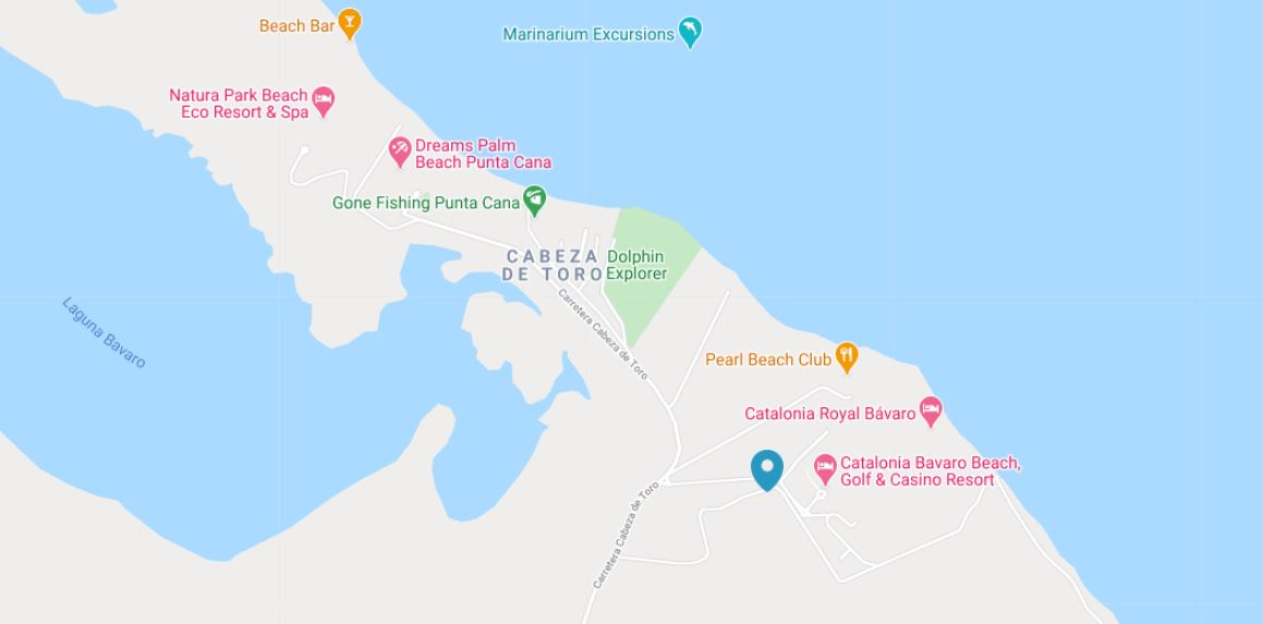 Mapa Ubicacion como llegar al Hotel Catalonia Bavaro Beach en Punta Cana