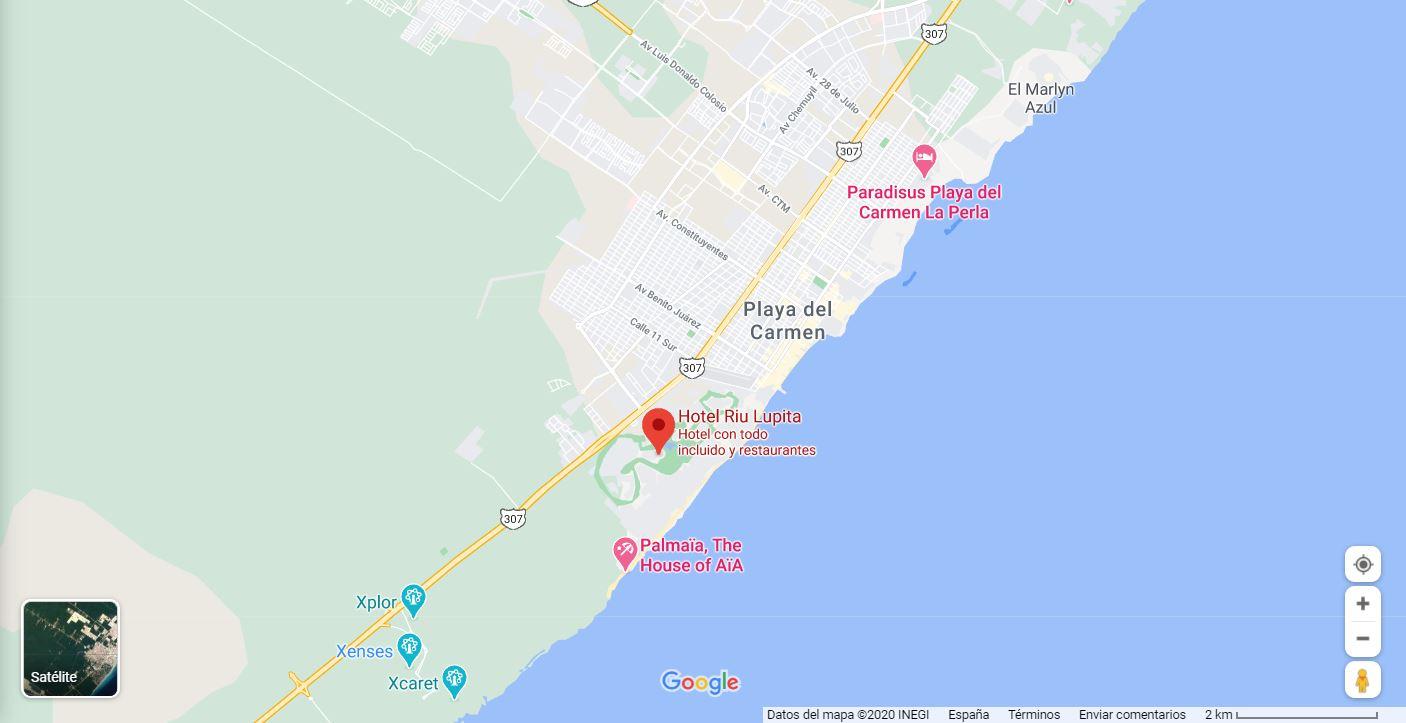 Mapa Ubicación como llegar Hotel Riu Lupita Riviera Maya Playa del Carmen Mexico