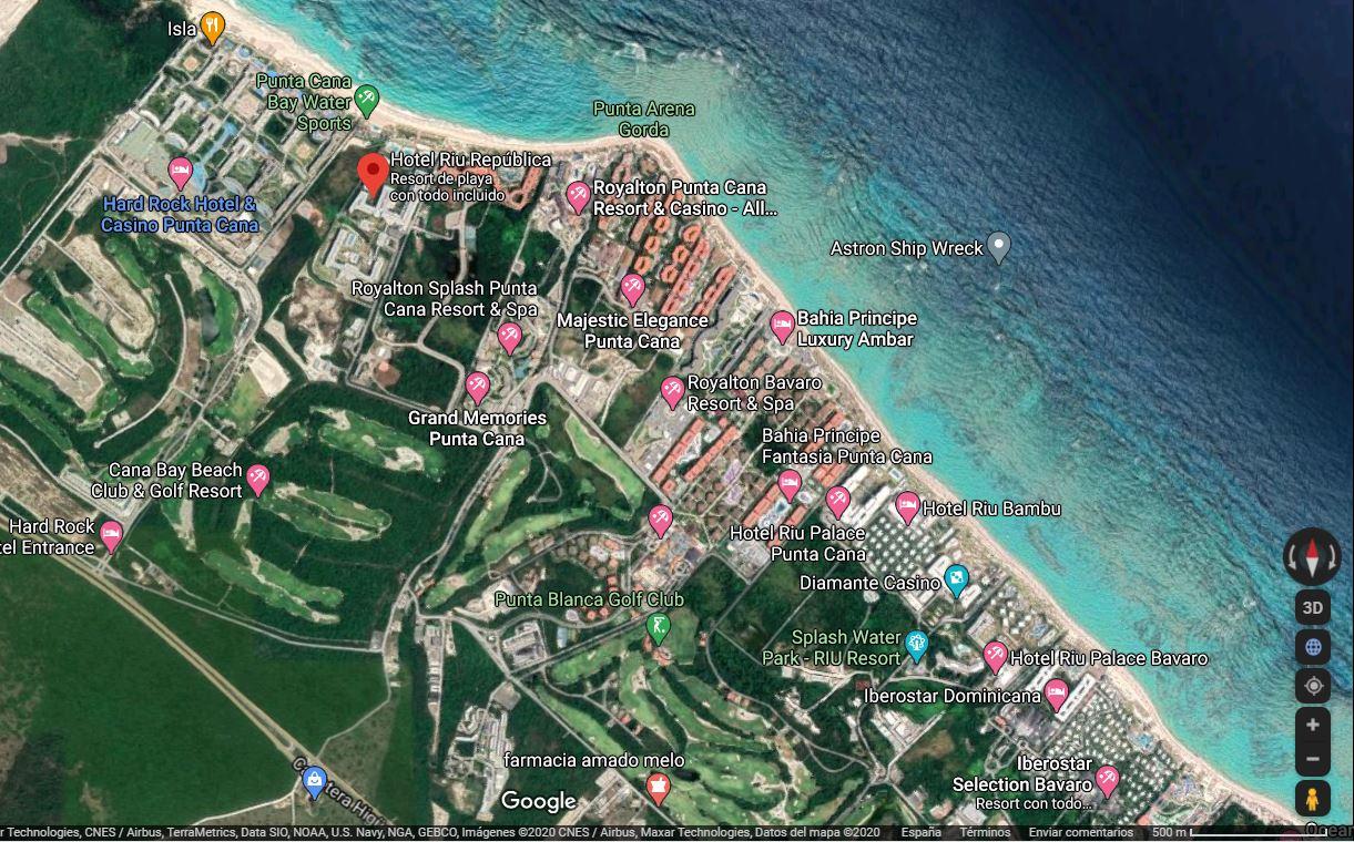 Mapa Ubicación como llegar al Hotel Riu Republica Punta Cana y distancias