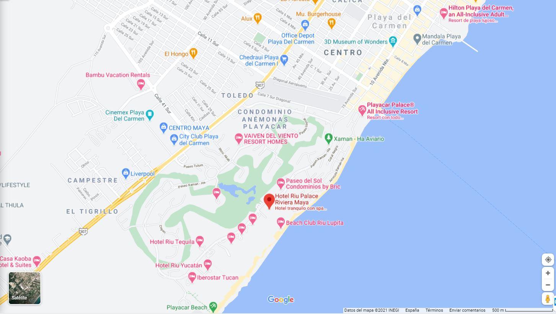 mapa ubicacion como llegar al hotel Riu Palace en Riviera Maya Mexico