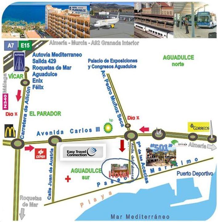 como llegar ubicacion hotel Playadulce Aguadulce Almeria