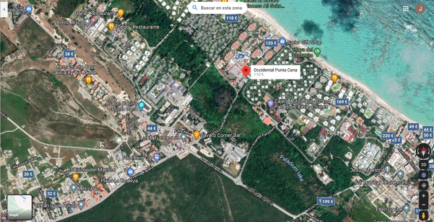 Mapa Ubicacion como llegar al Hotel Occidental Punta Cana