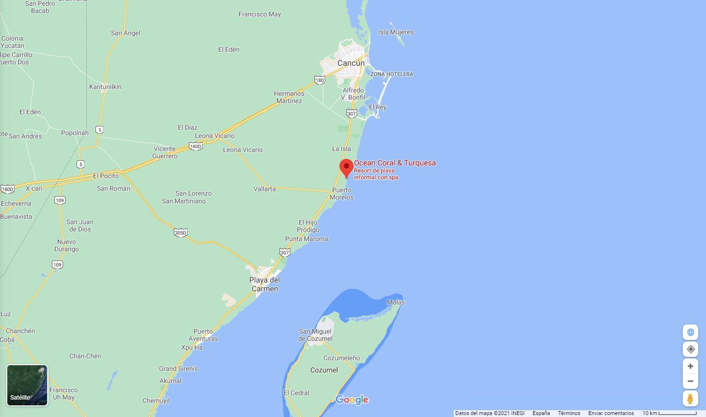 Mapa ubicacion y como llegar al hotel Ocean Turquesa en Riviera Maya