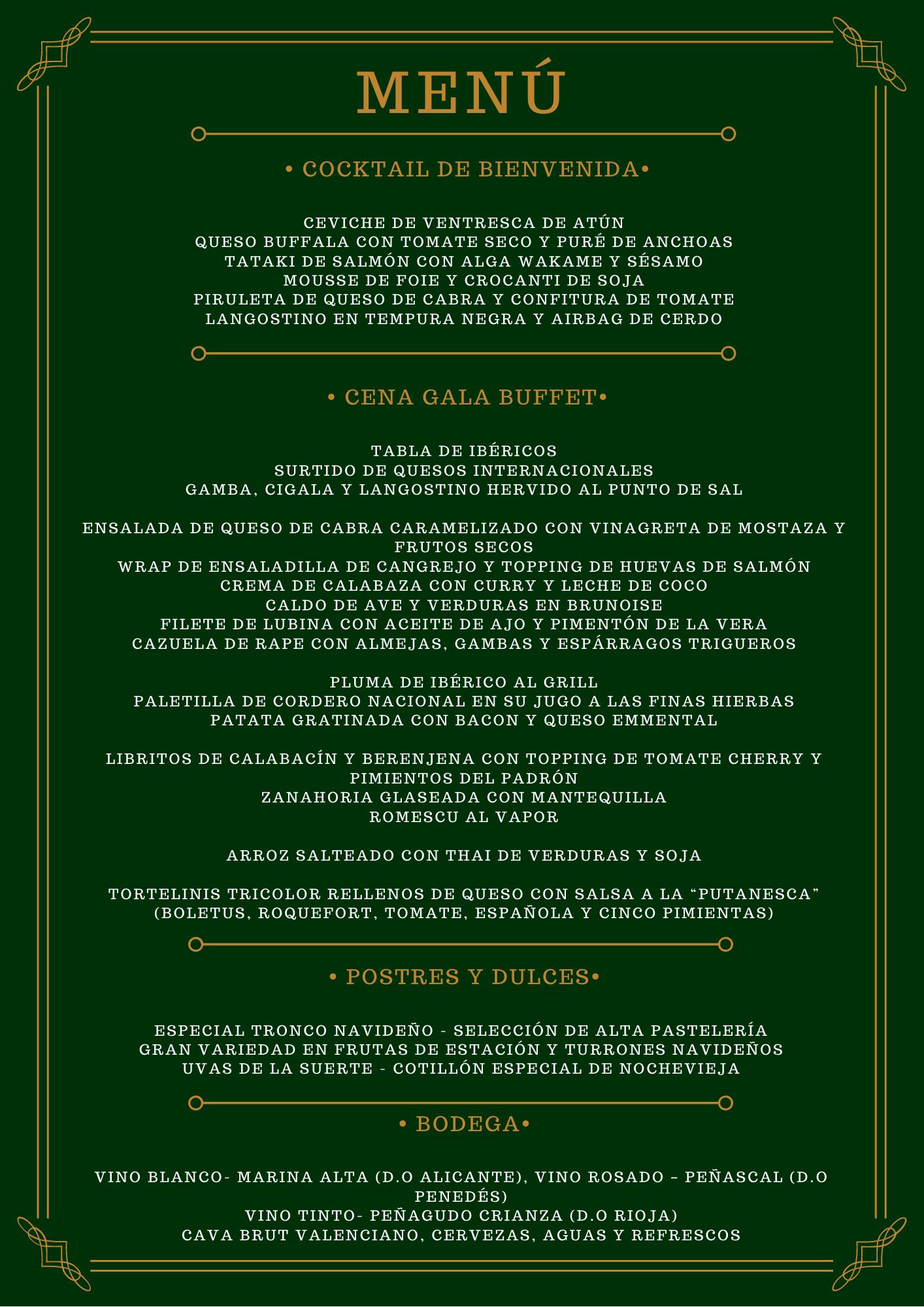 Menu fin de año Hotel el Albir Alicante nochevieja 2019