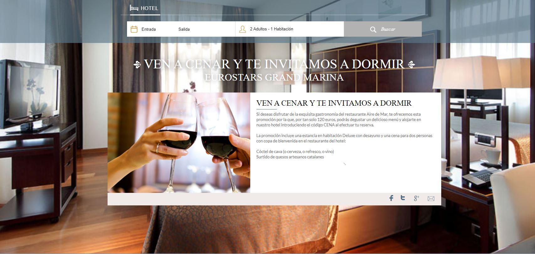 Oferta ven a cenar y te invitamos a dormir Hotel Grand Marina Barcelona