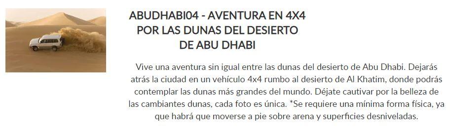 Excursión 4x4 Dunas Abu Dhabi _ Paquete Descubre _ Crucero Dubai y Leyendas de Arabia