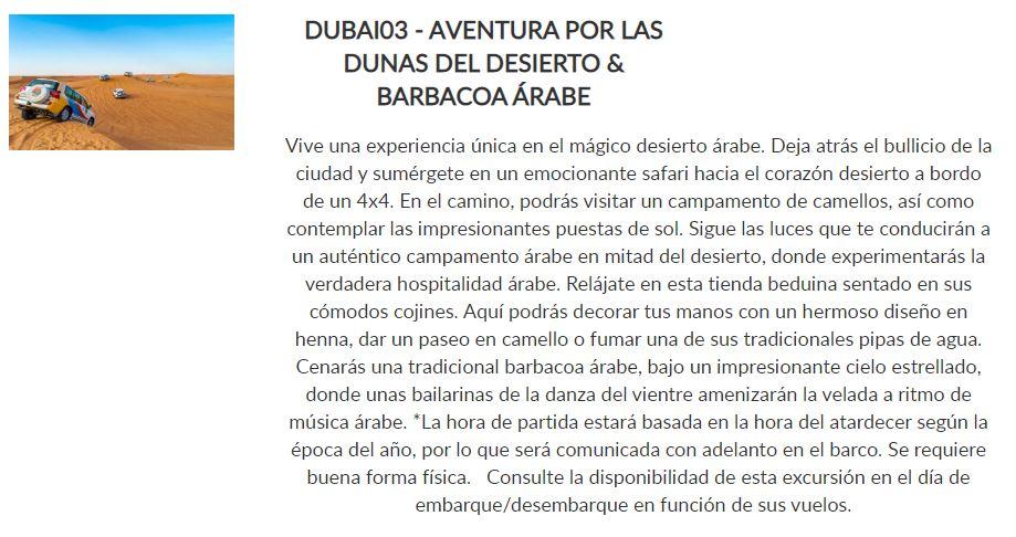 Excursión Dunas y Barbacoa árabe _ Paquete Siente _ Crucero Dubai y Leyendas de Arabia