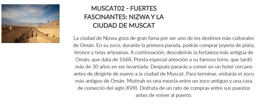 Excursión Nizwa y Muscat _ Paquete Siente _ Crucero Dubai y Leyendas de Arabia