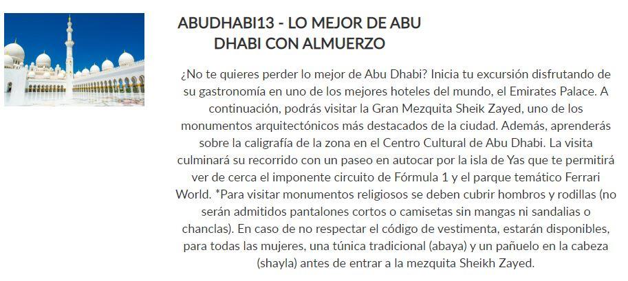 Excursión Abu Dhabi con almuerzo _ Paquete Siente _ Crucero Dubai y Leyendas de Arabia