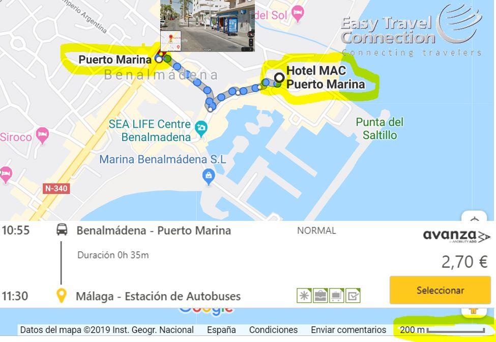 autobus Puerto Marina Benamadena a Málaga precios y horario Vacaciones Singles