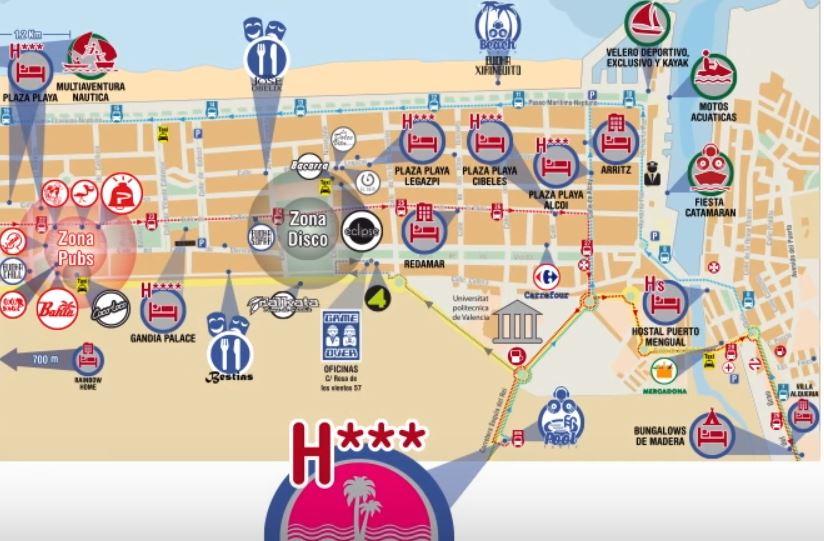 Mapa ubicacion Hotel TU&ME Resoort Playa y Zona Discotecas