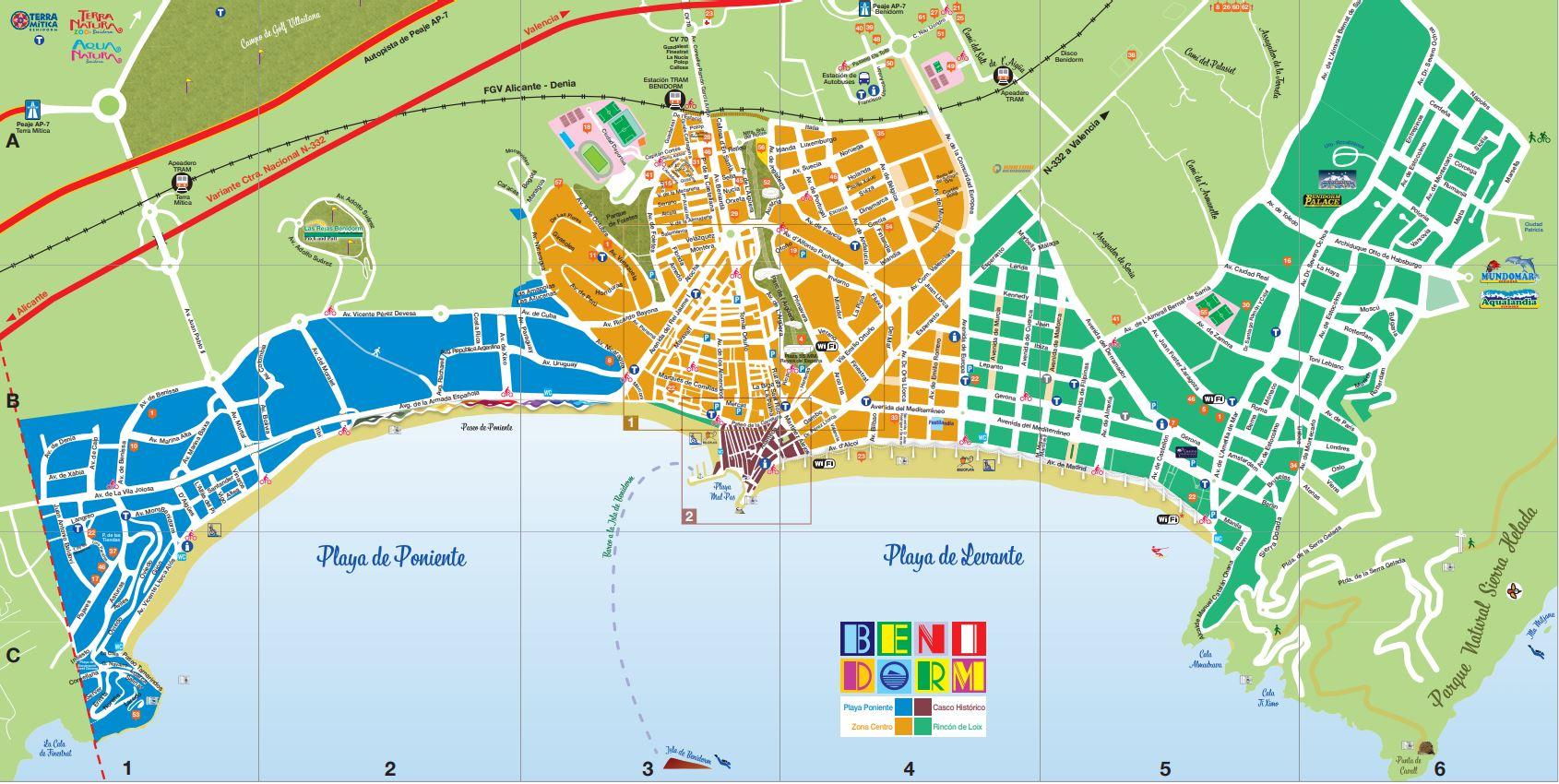 Mapa Benidorm Plano Ciudad B2B viajes
