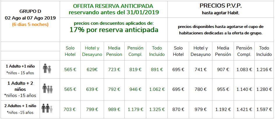 Precios Grupo D Vacaciones Singles con Hijos 2019