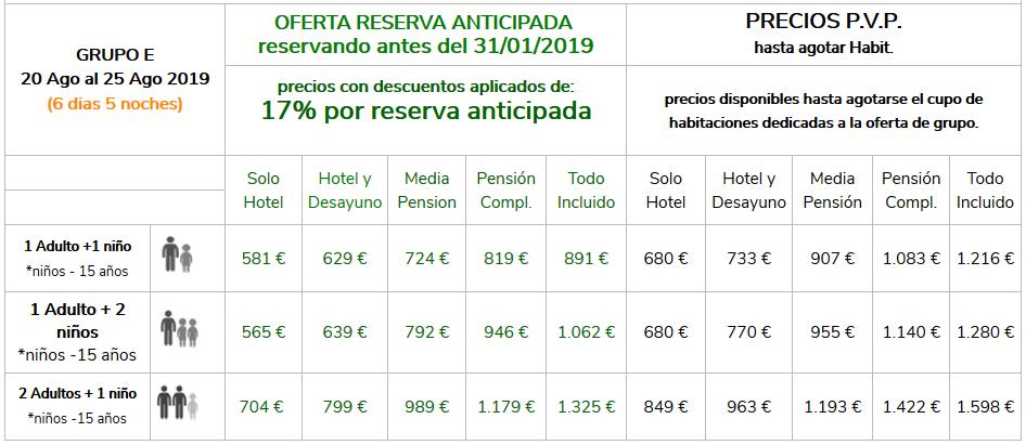 Precios Grupo E Vacaciones Singles con Hijos 2019