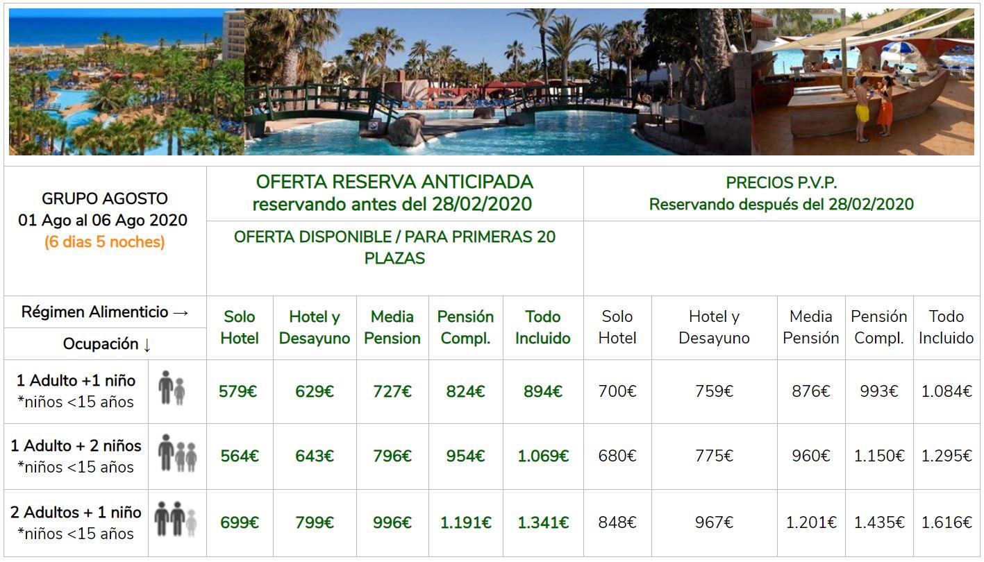 Precios Hotel Playasol Roquetas Grupo Singles con niños 1 al 6 Agosto 2020