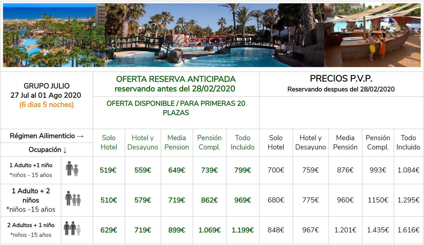 Precios hotel Playasol Roquetas grupos singles con niños 27 Julio a 1 Agosto